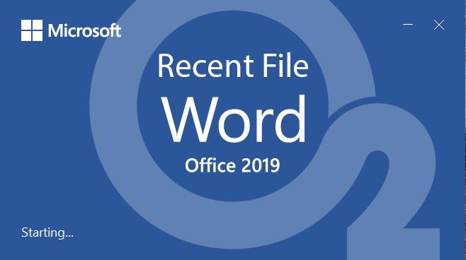 Word 2019 Recent Files